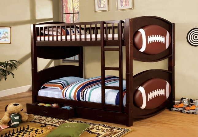 Olympic IV Dark Walnut Football Themed Bed with Padded Ball Headboard