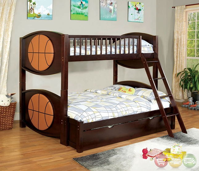 Olympic V Dark Walnut Sport Themed Bed With Padded Ball Shaped