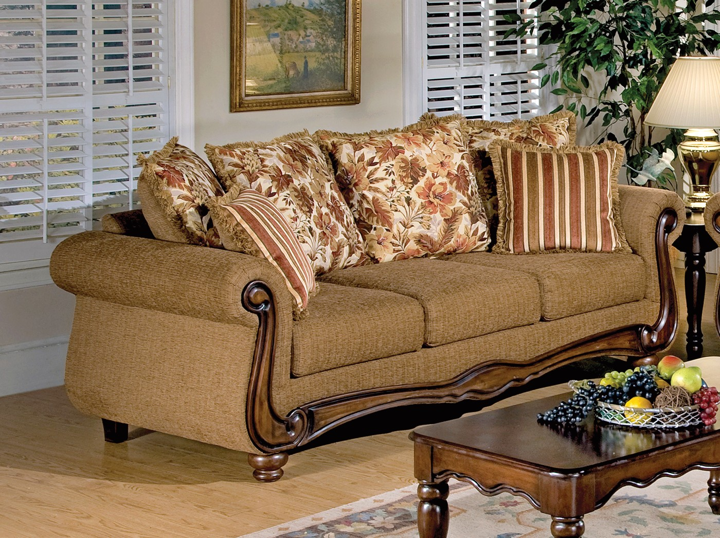 Olysseus Traditional Floral Pillow Back Sofa & Loveseat