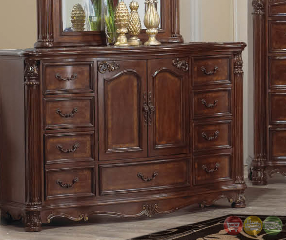 Omar Traditional Cherry Canopy Bedroom Set With Carved