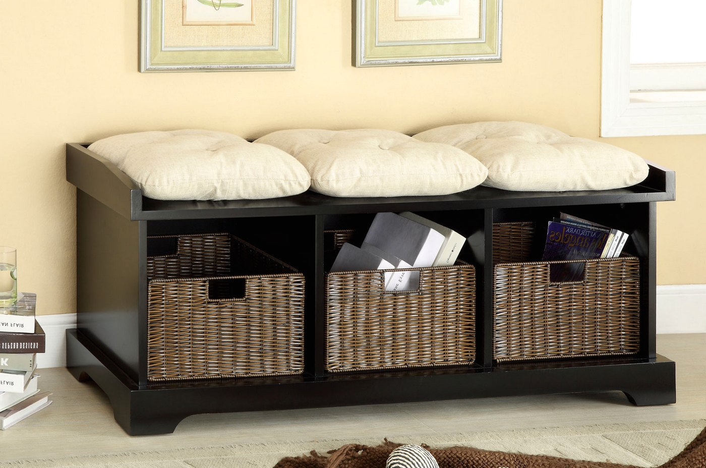 Onex Contemporary Black Storage Benches With 3 Cushions
