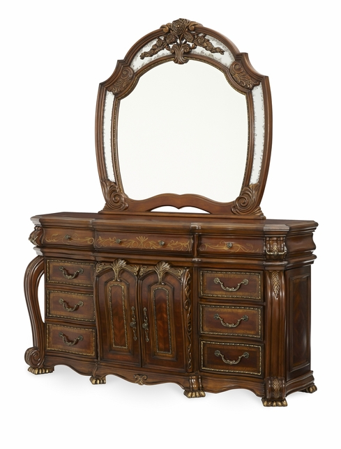 Michael Amini Oppulente Carved Acanthus Leaf Sienna Spice Dresser by AICO
