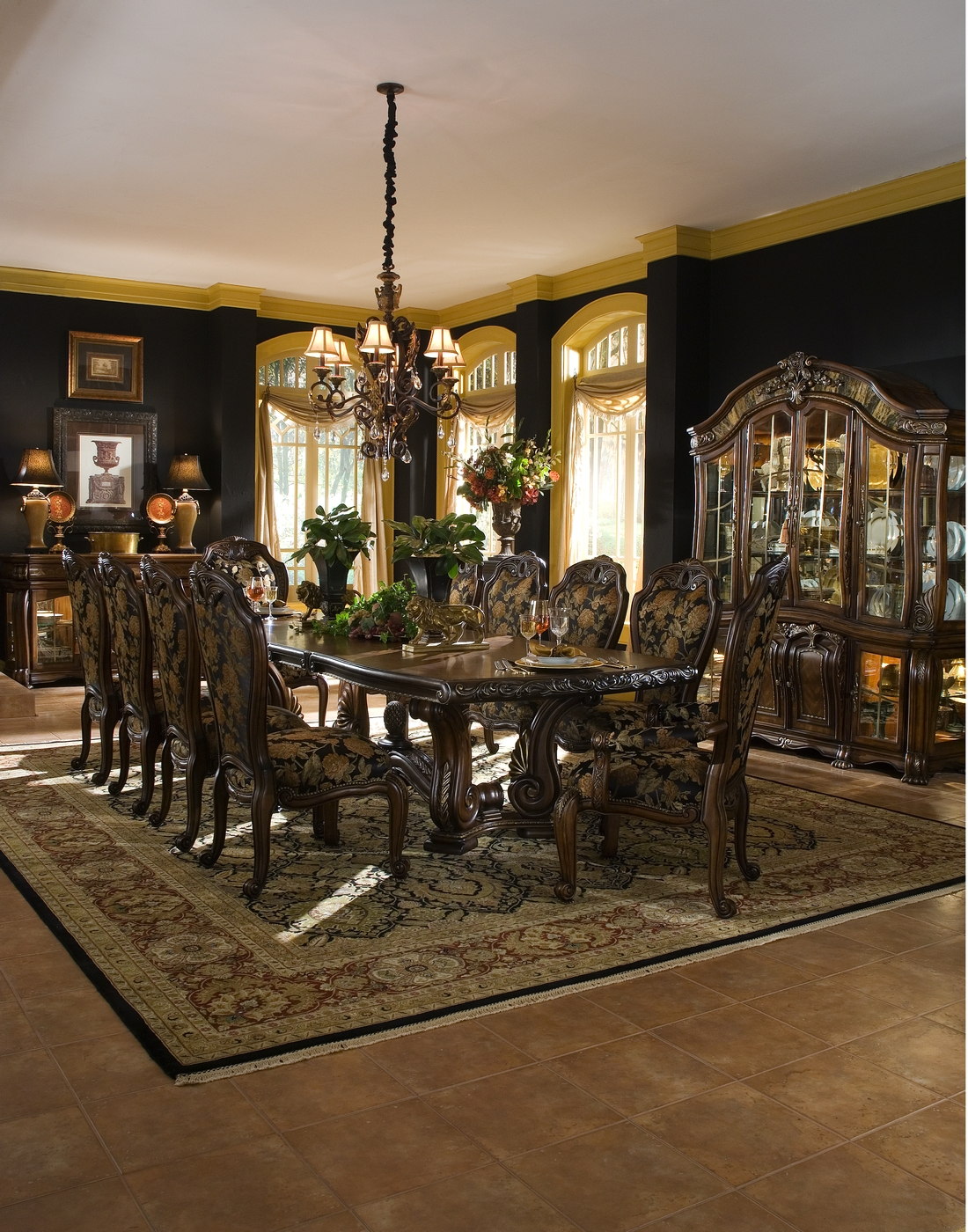 Formal dining room set table
