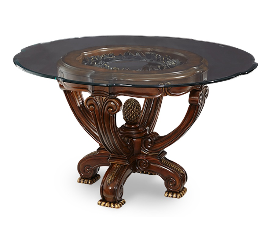 Michael amini oppulente luxury formal round dining set w for Fancy round dining table