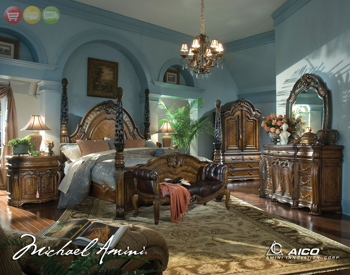 Michael Amini Oppulente Luxury Poster Bed Carved Wood Bedroom Set By Aico