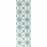 """Opus Soft Wool Rectangle Runner Area Rug 2'6""""x 8'Off White Teal Blue Green Print"""