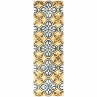 """New Opus Soft Wool Rectangle Runner Area Rug 2'6""""x 8'Yellow Grey Off White Print"""
