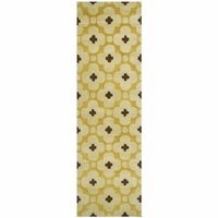 """Opus Soft Wool Rectangle Runner Area Rug 2'6""""x 8'Yellow Brown Burgundy Red Print"""