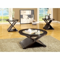 Orbe Contemporary Espresso Accent Tables Set with Cross Design Table Base