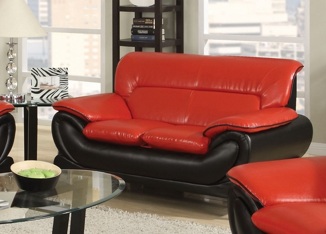 Orin Modern Black Amp Red Bonded Leather Loveseat W Chrome Legs