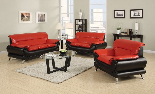 Orin Modern Black Red Bonded Leather Sofa Loveseat W Chrome Legs