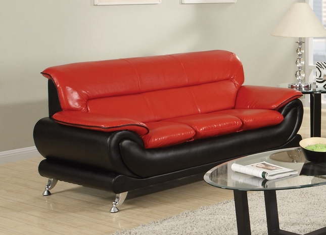 Orin Modern Black & Red Bonded Leather Sofa w/ Chrome Legs