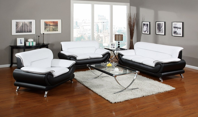 Orin Modern Black & White Bonded Leather Sofa & Loveseat w ...