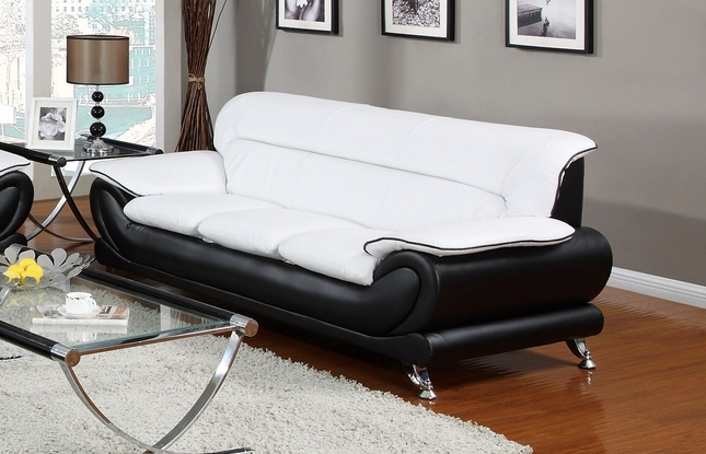 Orin Modern Black & White Bonded Leather Sofa w/ Chrome Legs