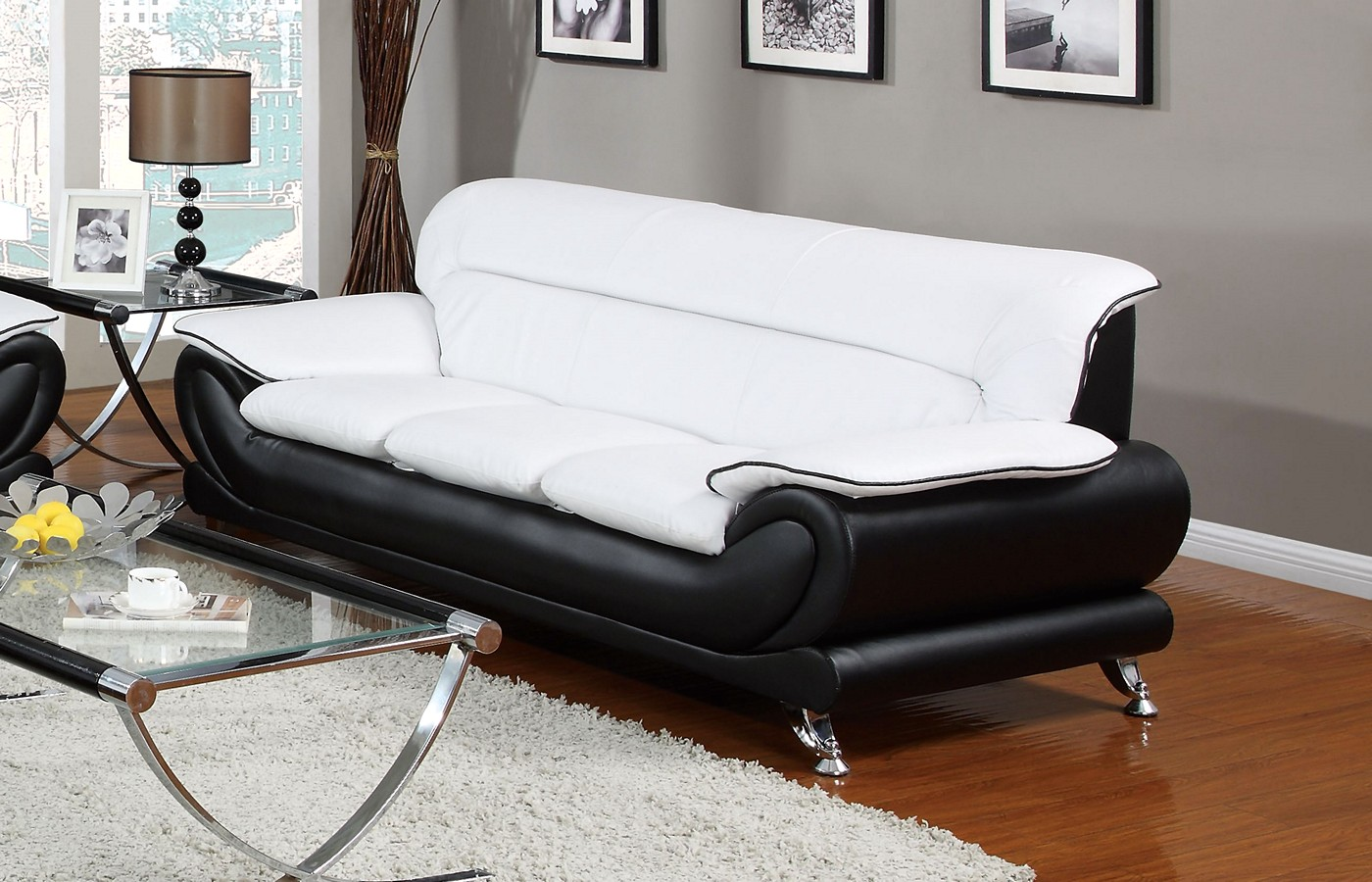 Orin Modern Black Amp White Bonded Leather Sofa W Chrome Legs
