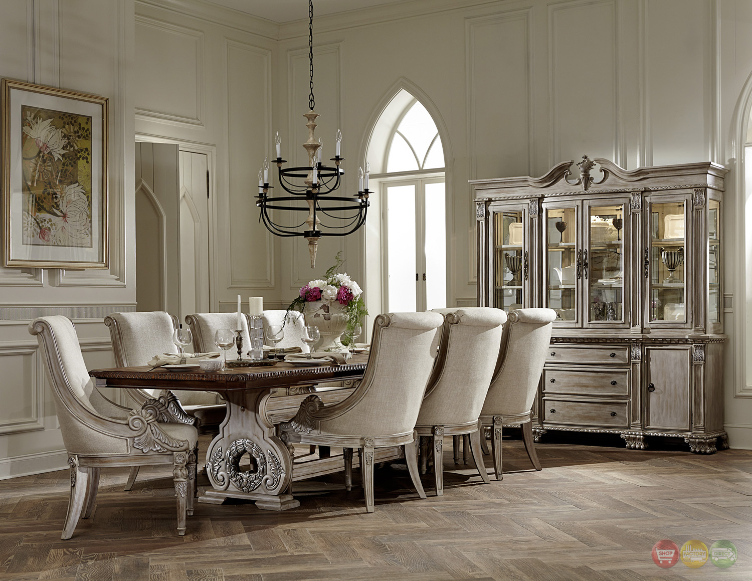 Orleans ii white wash traditional 7pc formal dining room for Elegant dining room furniture