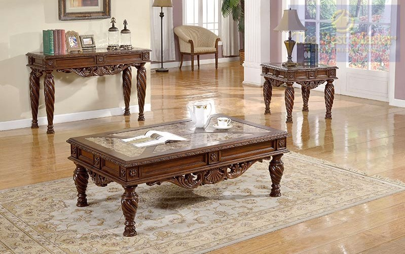 Ornate 3 piece living room table set traditional style w - Three piece living room table set ...