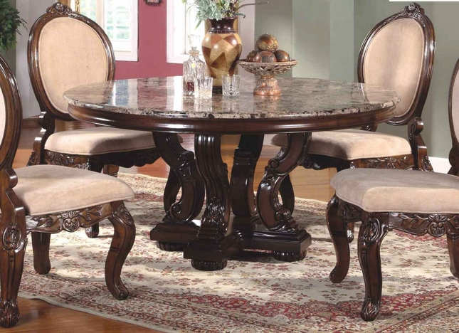 Marble Topped Kitchen Table Ornate 60 marble topped round dining table with antique brown finish workwithnaturefo