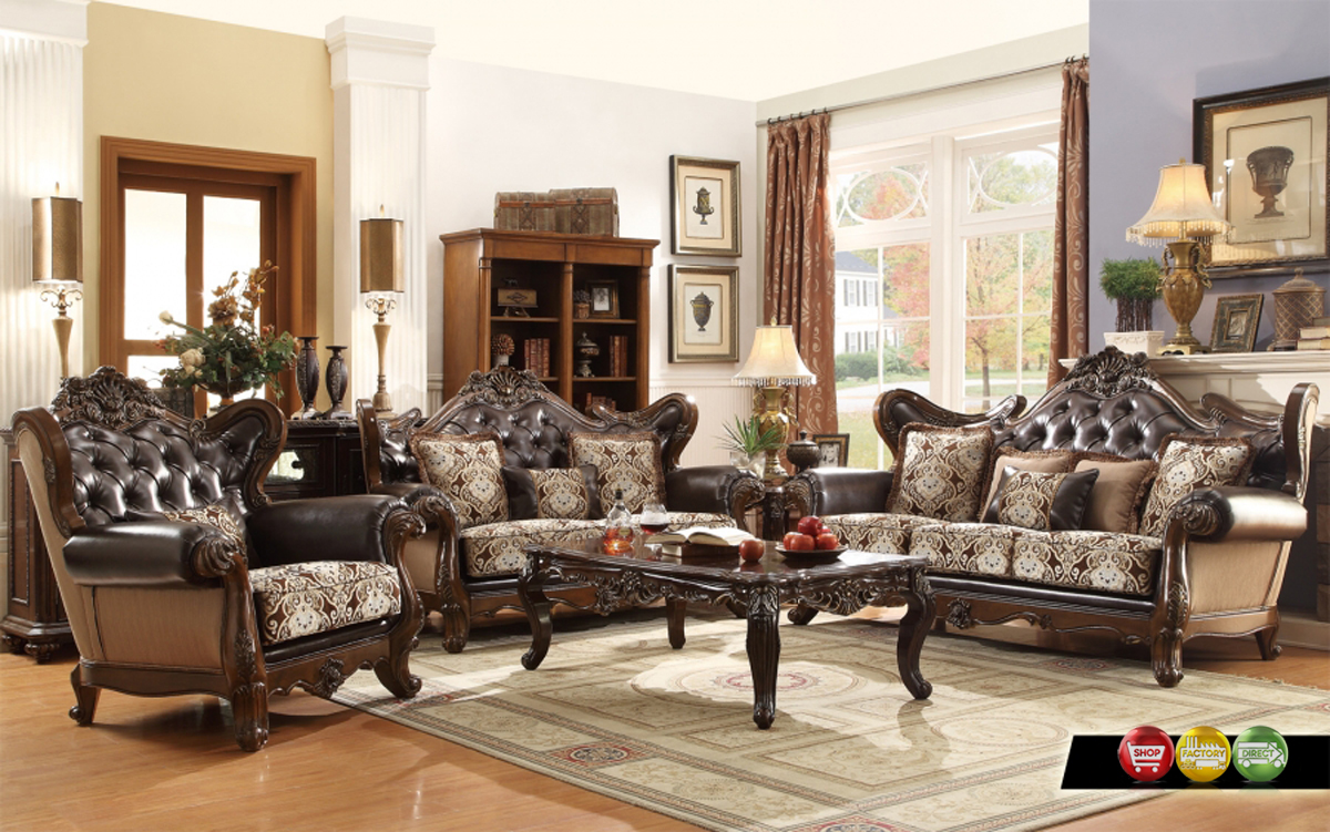 Ornate antique style french provincial traditional brown for Leather and fabric living room sets