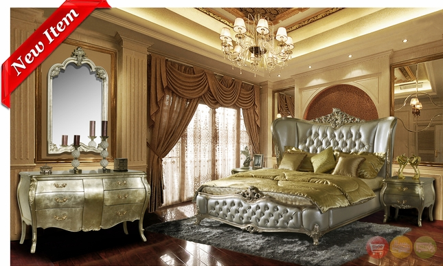 Ornate Classic Wing Back Button Tufted Bedroom Collection Homey Design  HD 200