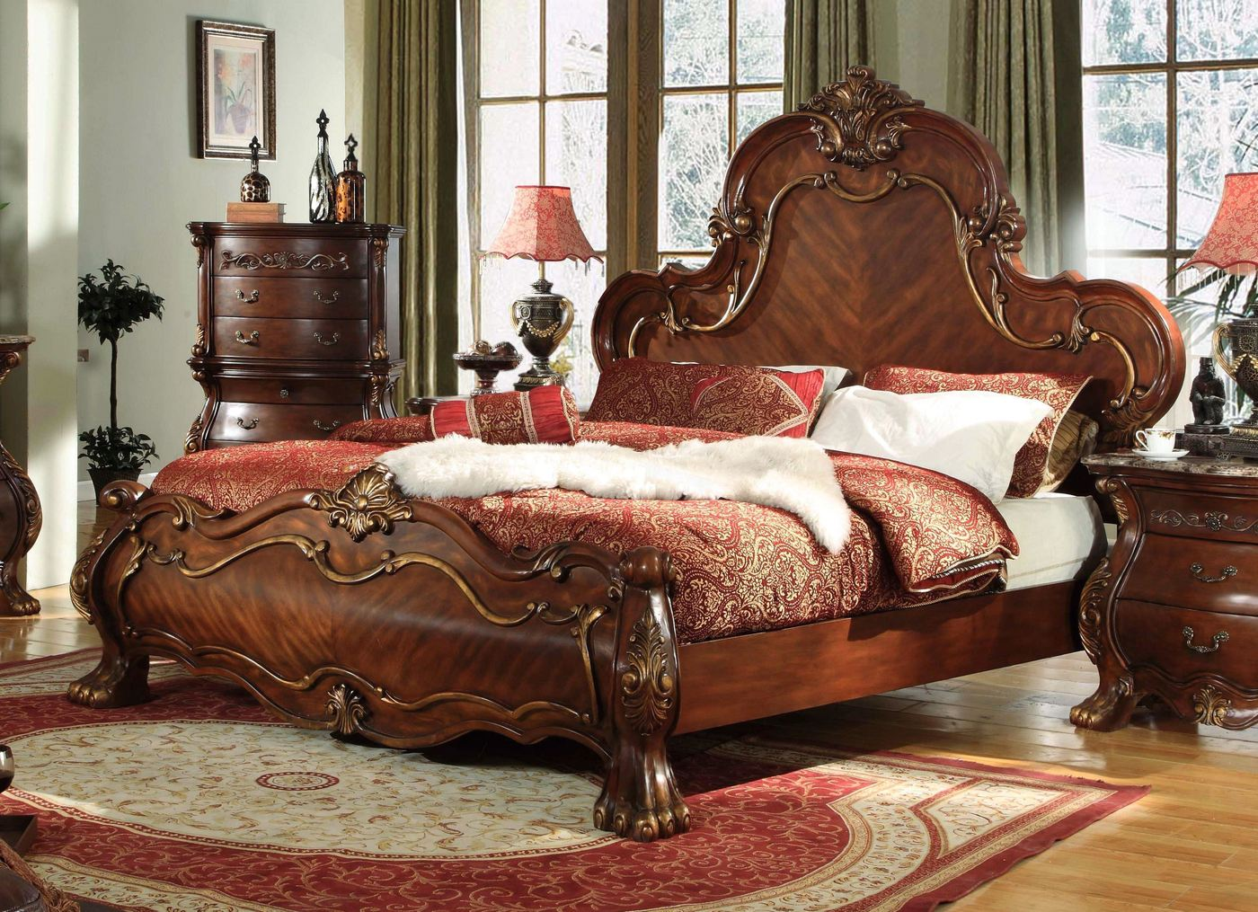 Ornate french rococo royale queen bed with chestnut finish for French baroque bed