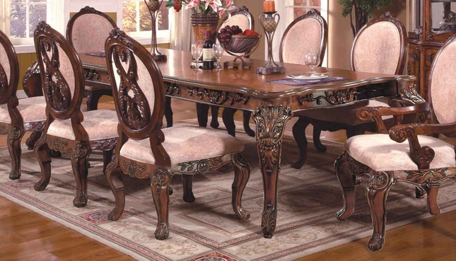 Ornate Rectangular Cabriole Dining Table With Antique