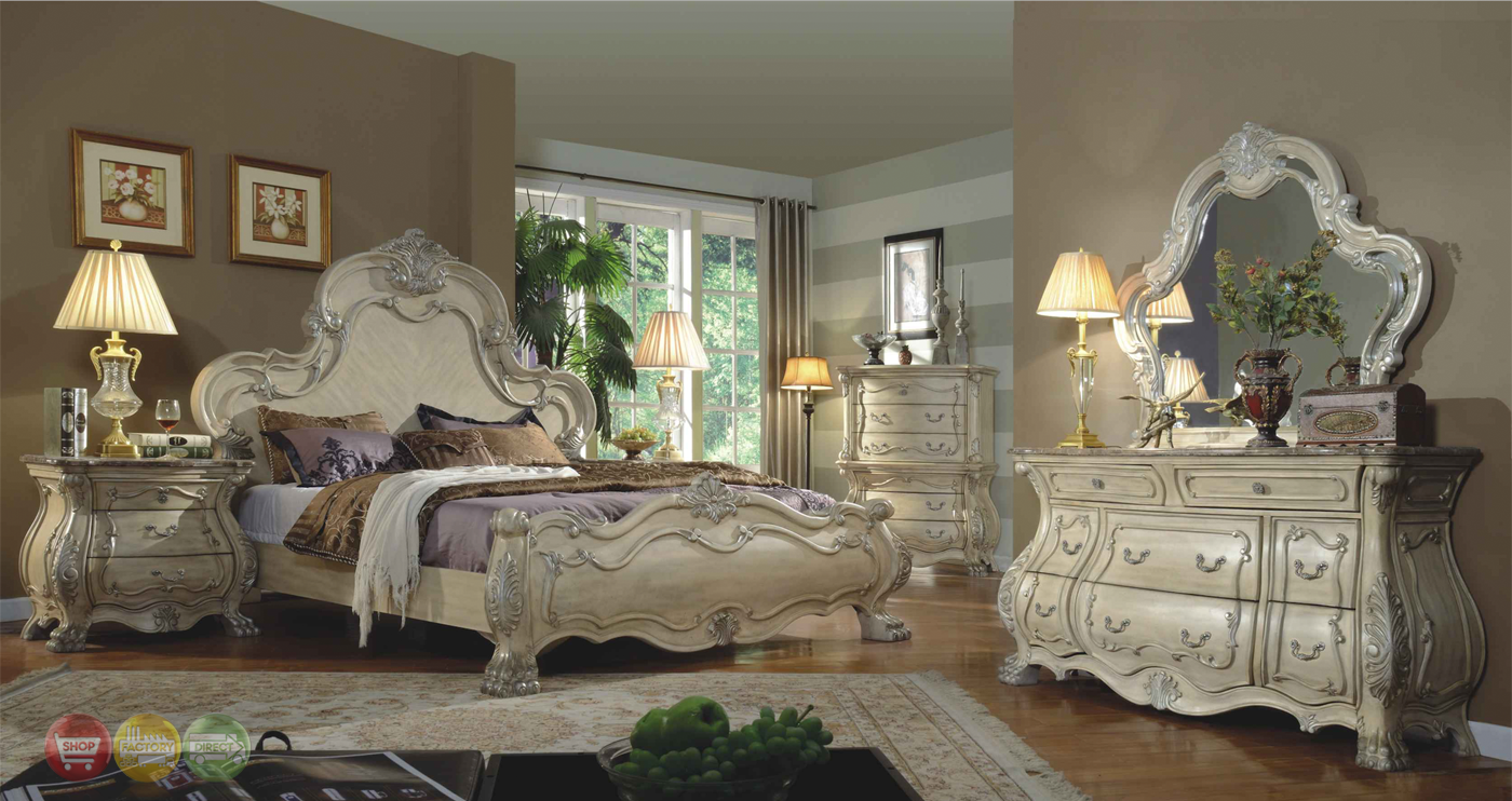 Traditional antique white victorian queen mansion bed 4pc - White vintage bedroom furniture sets ...