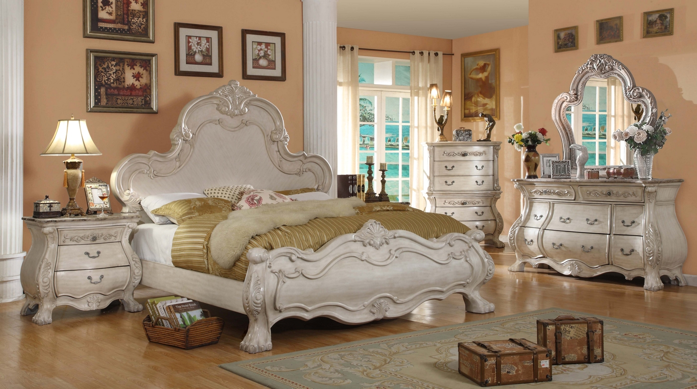 Antique white bedroom furniture queen mansion bed - White vintage bedroom furniture sets ...