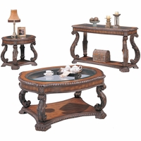 Ornate Traditional Brown Living Room Occasional Table Set Carved Accents