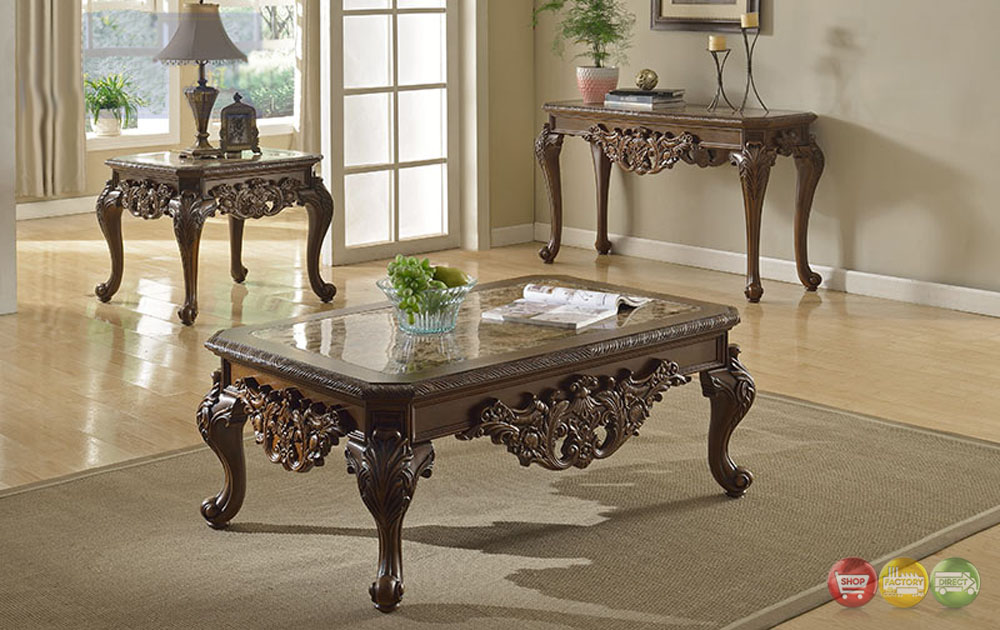 Ornate traditional cocktail coffee table two end tables w marble tops Traditional coffee tables and end tables