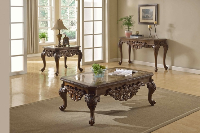 Ornate Traditional Cocktail Coffee Table Two End Tables W Marble Tops