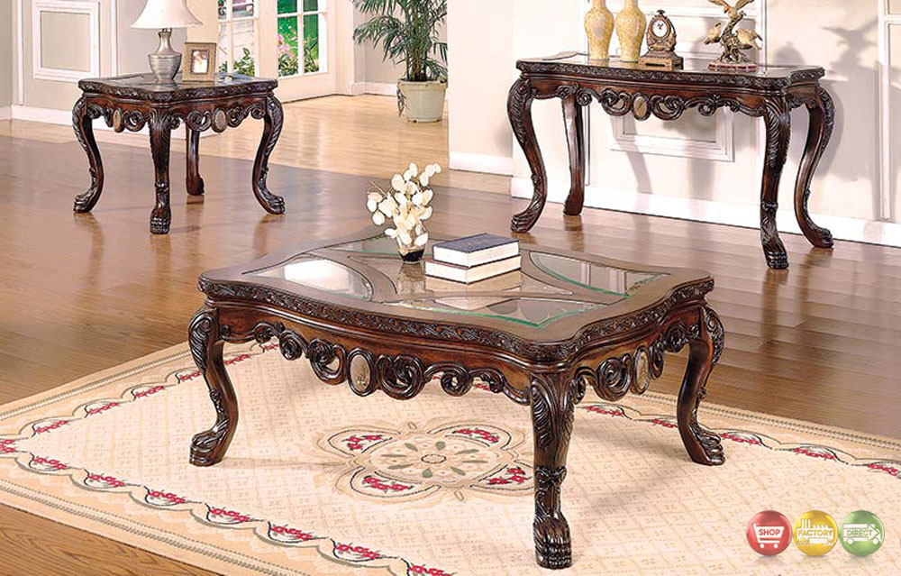 Ornate Traditional Living Room Occasional Tables 3 Piece Set With Glass Tops
