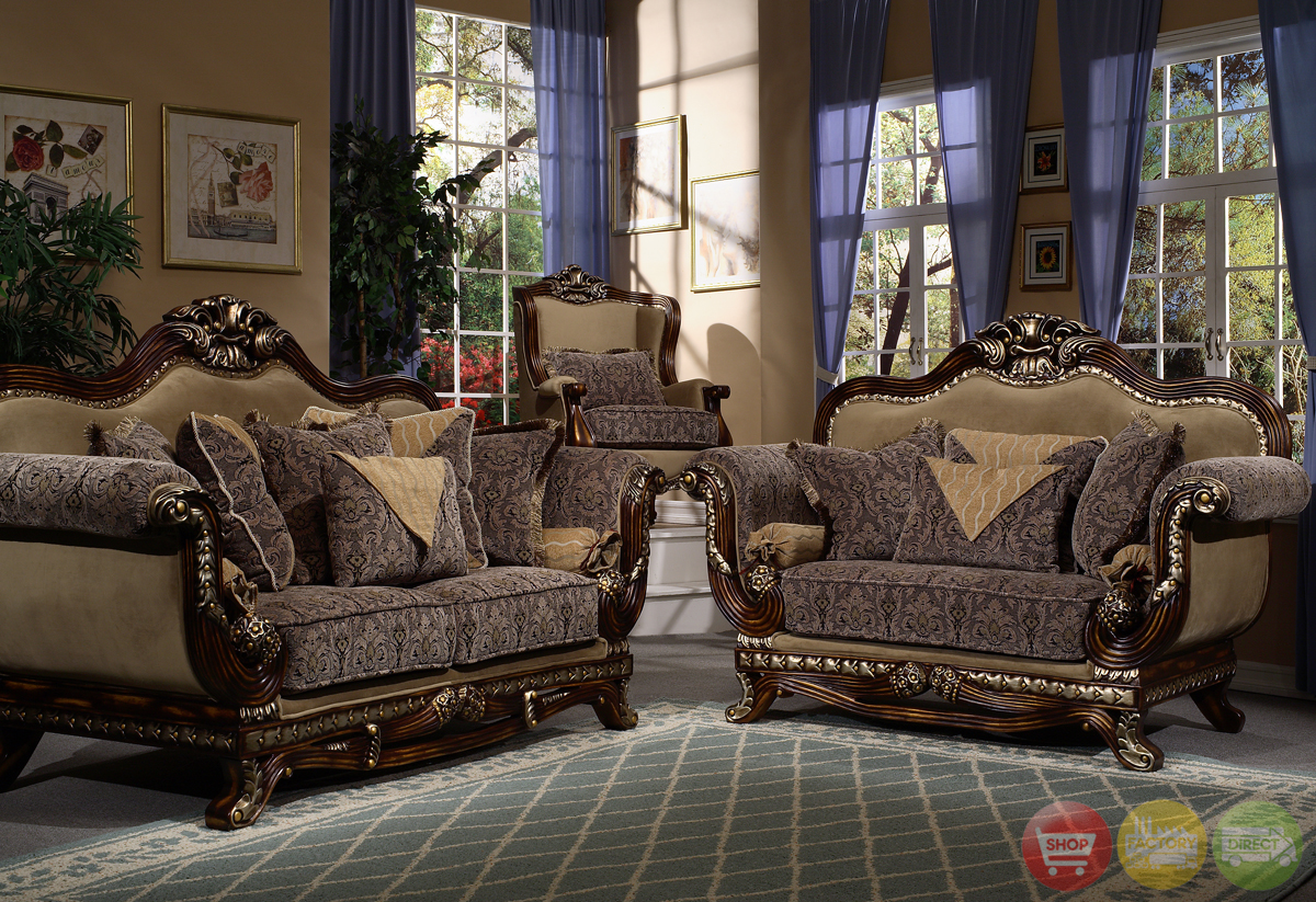 Victorian inspired formal living room sets for Living style furniture