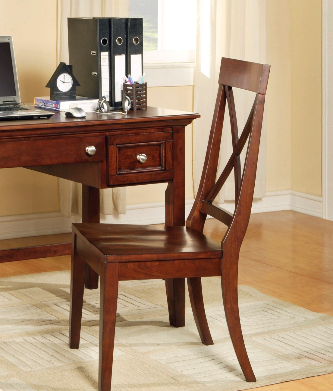 Oslo Cottage X Back Wood Side Chair In Rich Cherry Finish