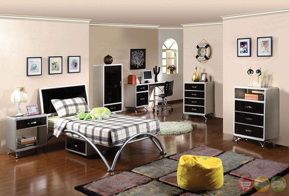 Otis Contemporary Silver And Black Youth Bedroom Set With