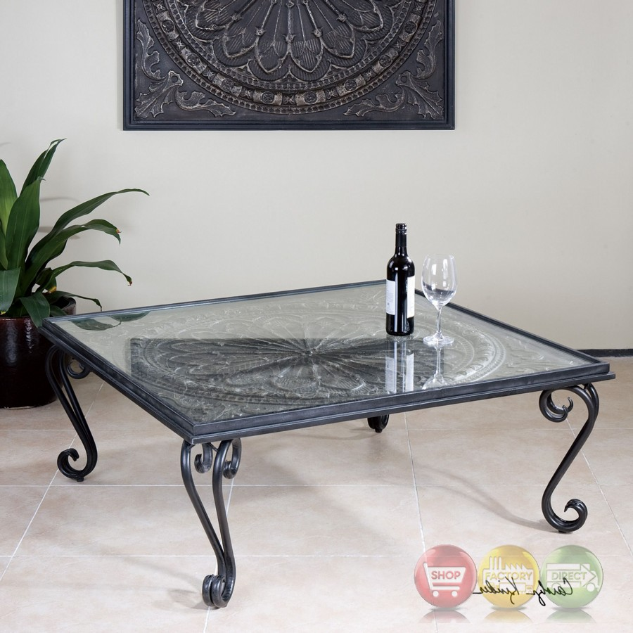 ottavio black and silver forged iron coffee table with tempered glass top. Black Bedroom Furniture Sets. Home Design Ideas