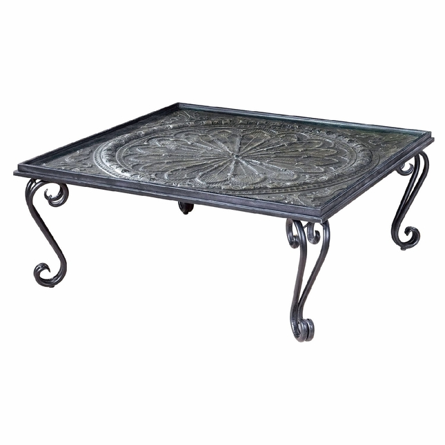 Ottavio black and silver forged iron coffee table with for Tempered glass coffee table