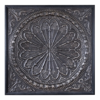 """Ottavio Black and Silver Ornate Iron Embossed Antiqued Wall Art, 44""""x44"""""""