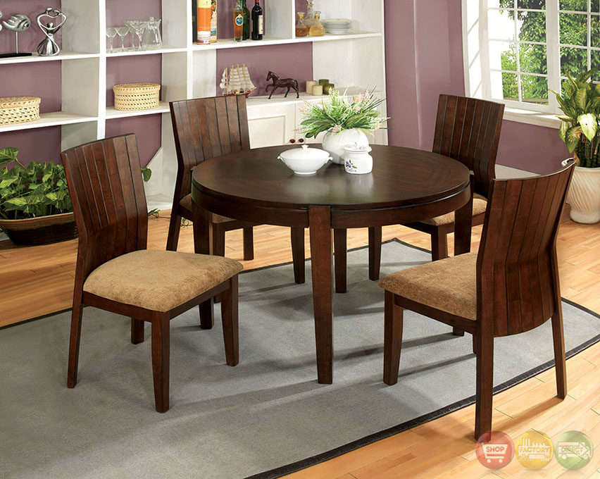 Ottawa transitional walnut casual dining set with padded for Informal dining room sets