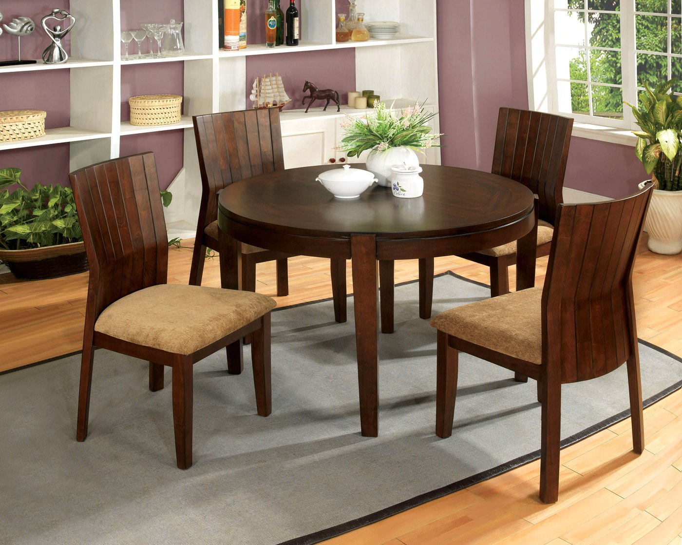 Ottawa transitional walnut casual dining set with padded for Casual dining room tables