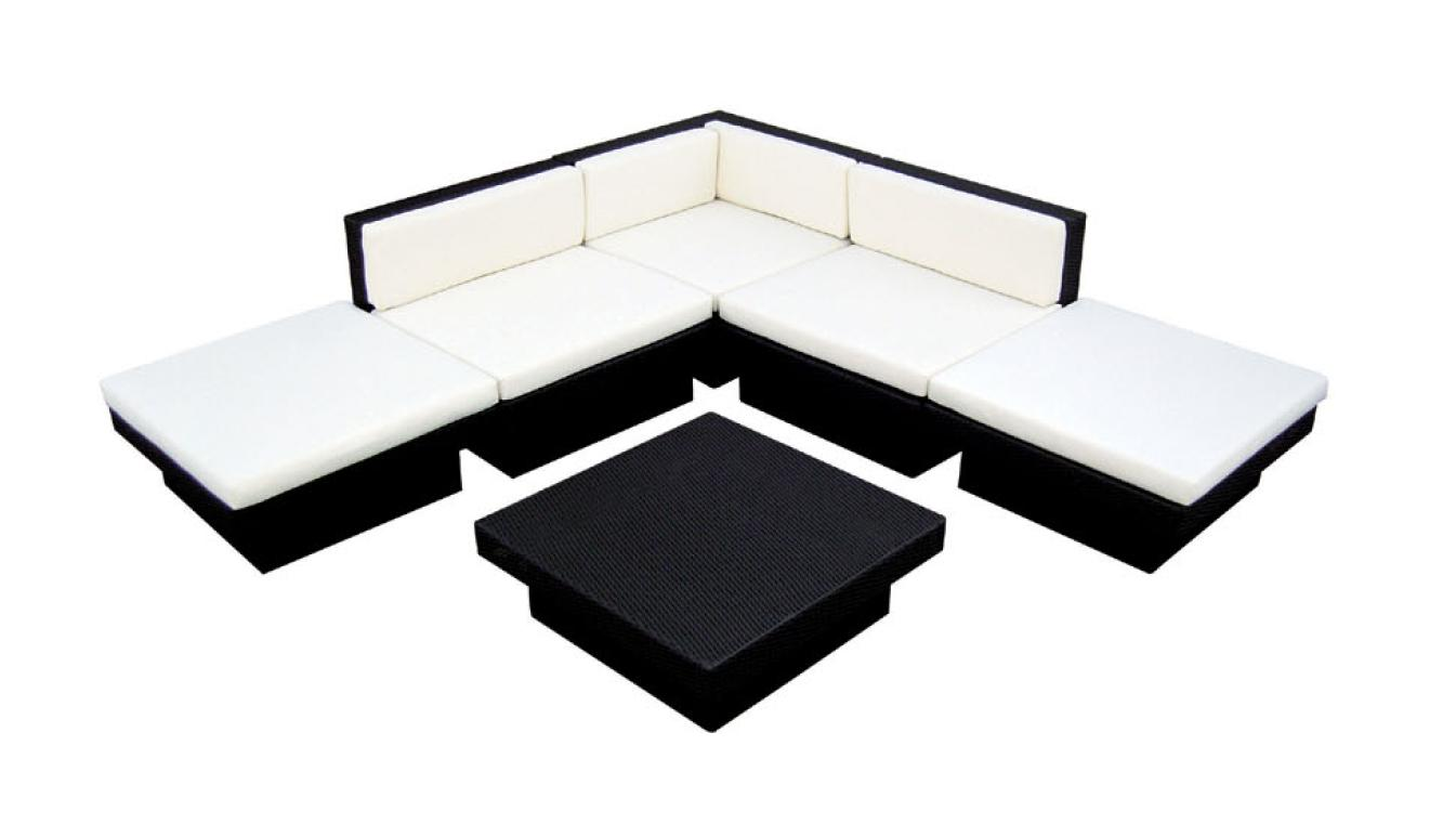 Outdoor Wicker Sectional Sofa Coffee Table Patio