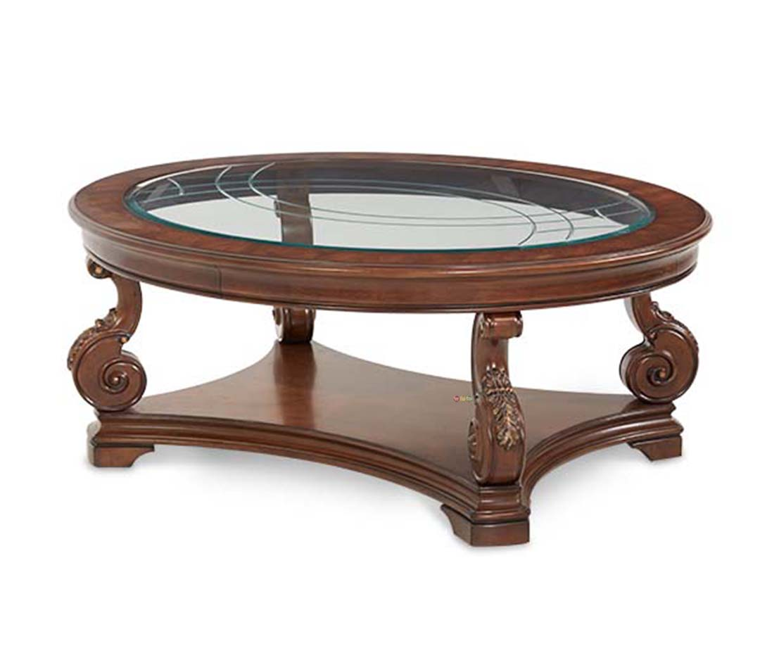 Michael Amini Victoria Palace Traditional Oval Cocktail Table By Aico