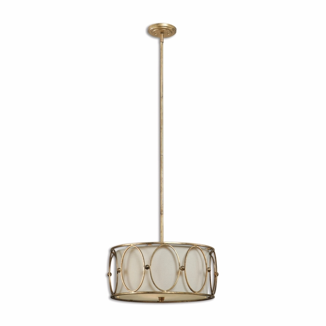 Ovala Traditional 3 Light Gold Drum Pendant 21955