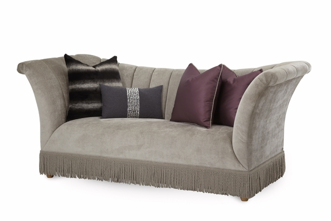 Overture Contemporary High Arm Bullion Fringe Sofa In Champagne Beige