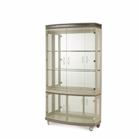 Overture Cristal Beige Glamour Glass Curio Cabinet With Chrome Accents
