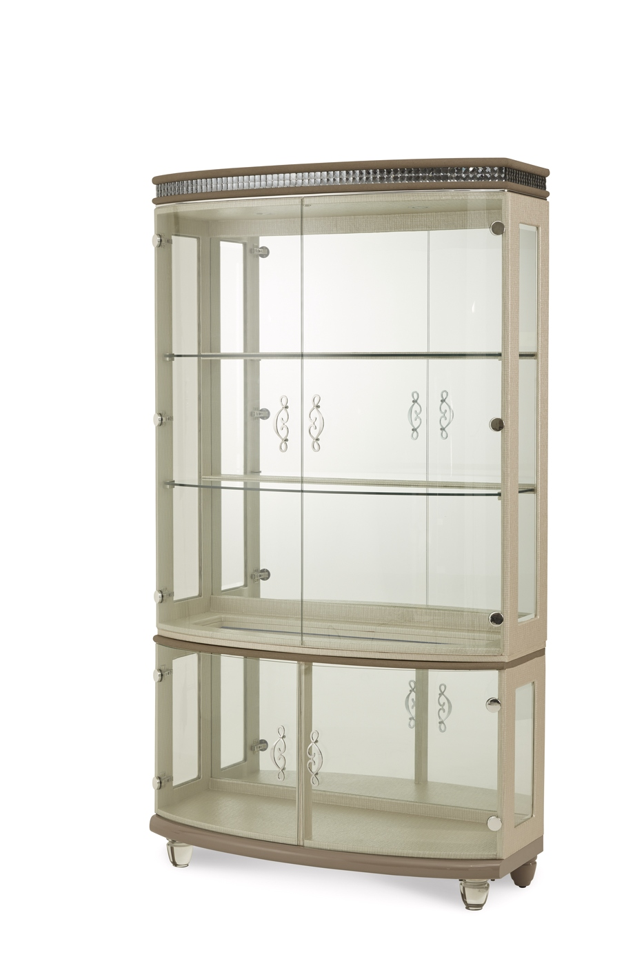 Overture Cristal Beige Glamour Glass Curio Cabinet With
