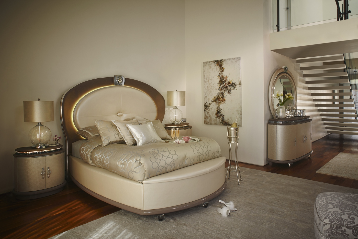 Overture Glamour 4 Piece King Bedroom Set In Ivory Pearl