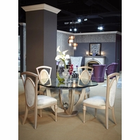 "Overture Glamour 5pc 60"" Round Glass Dining Table Set In Cristal Beige"