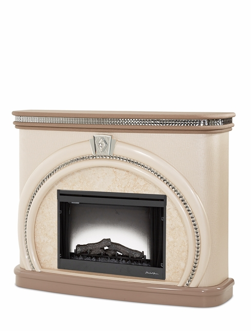 Overture Glamour Cristal Beige Electric Fireplace With Crystal Accents