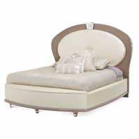 Overture Glamour King Bed In Ivory Pearl Upholstery & Crystal Accents